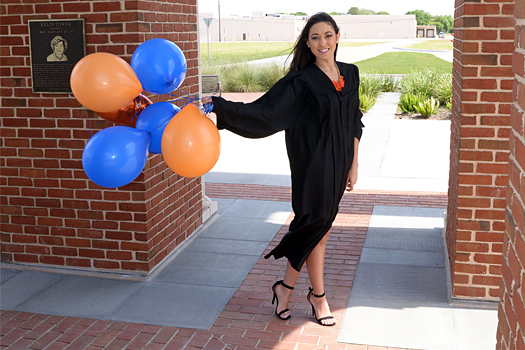 HBU Graduation Portrait with balloons